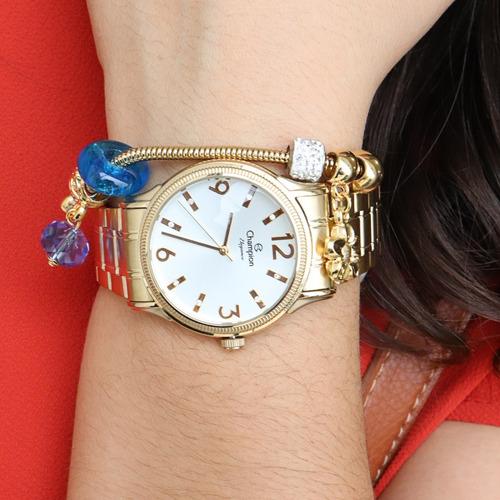 relogio feminino dourado champion ch24268d kit colar brincos