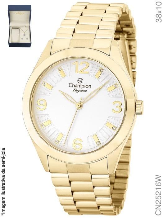 1fcedeea3df Relógio Feminino Dourado Champion Cn25216w + Colar E Brinco - R  169 ...