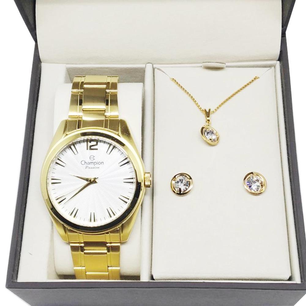 af6f58fc00c Relógio Feminino Dourado Champion Cn29865w + Colar Brincos - R  192 ...