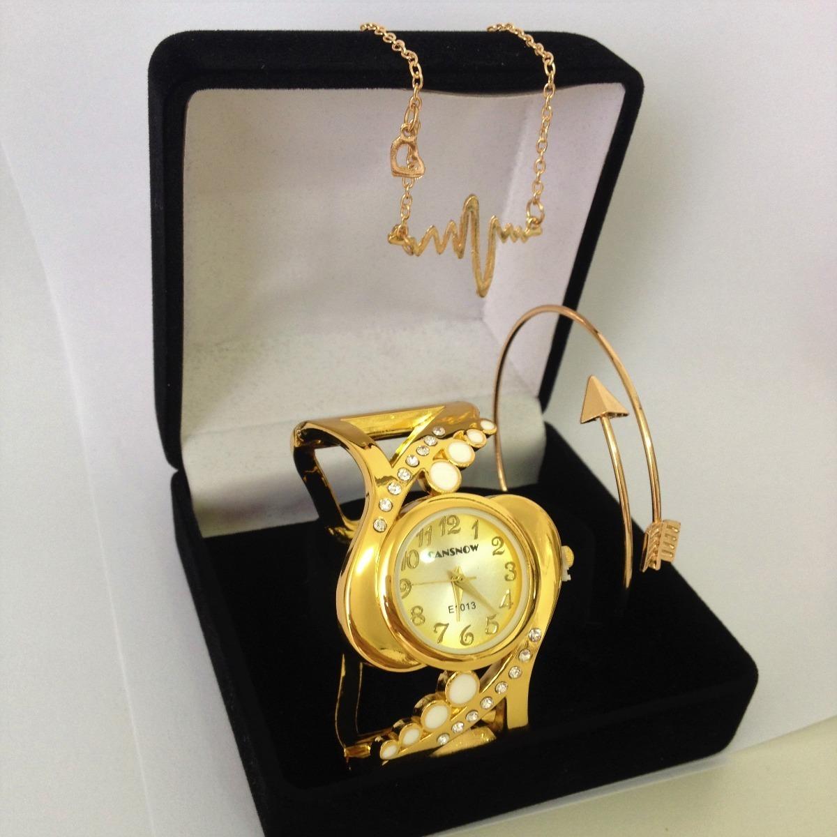 e738034df24 relógio feminino dourado + colar + pulseira presente barato. Carregando zoom .