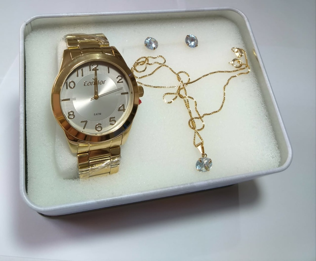 b496a88d585 relogio feminino dourado condor kit-joia ref-co2035kwx k4a. Carregando zoom.