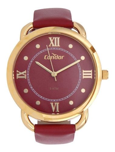 relogio feminino dourado condor pulseira couro vermelho