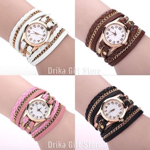 relogio feminino dourado couro bracelete barato varias cores
