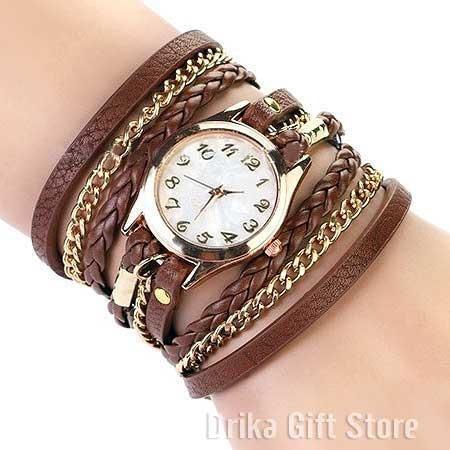 relogio feminino dourado couro marrom bracelete barato