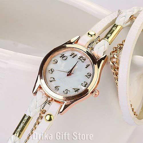 30ab3e8d7ca Relogio Feminino Dourado De Couro Branco Bracelete Barato - R  37