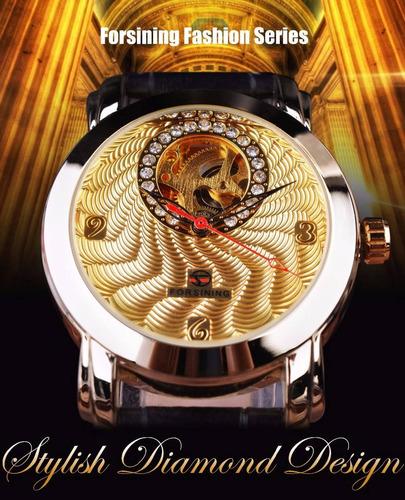 relógio feminino dourado de luxo  pulseira de couro