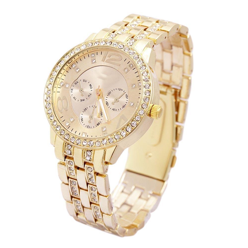 b496d4c37d8 Relógio Feminino Dourado Em Promoção De Luxo Lindo