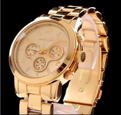 ad4ac0a74419f Relógio Feminino Dourado Estilo Michael Kors Lindo!!! - R  119,90 em ...