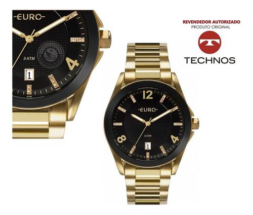 relógio feminino dourado euro fashion luxo cristais eu2315hm