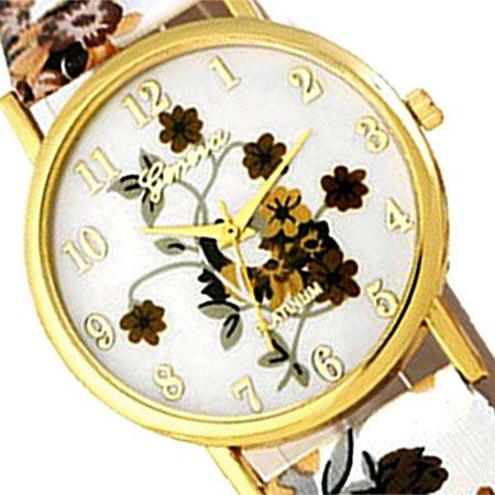 relogio feminino dourado floral geneva couro pulso marrom visor medio pulseira barato