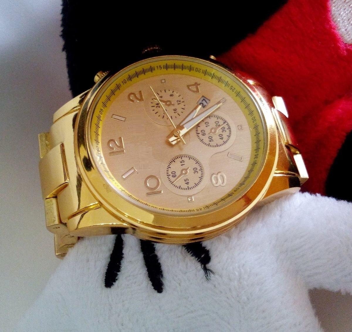 a5f9024f56b relógio feminino dourado grande barato promoção atacado. Carregando zoom.