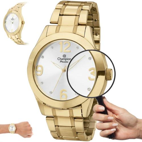 relógio feminino dourado grande champion ch24268h original