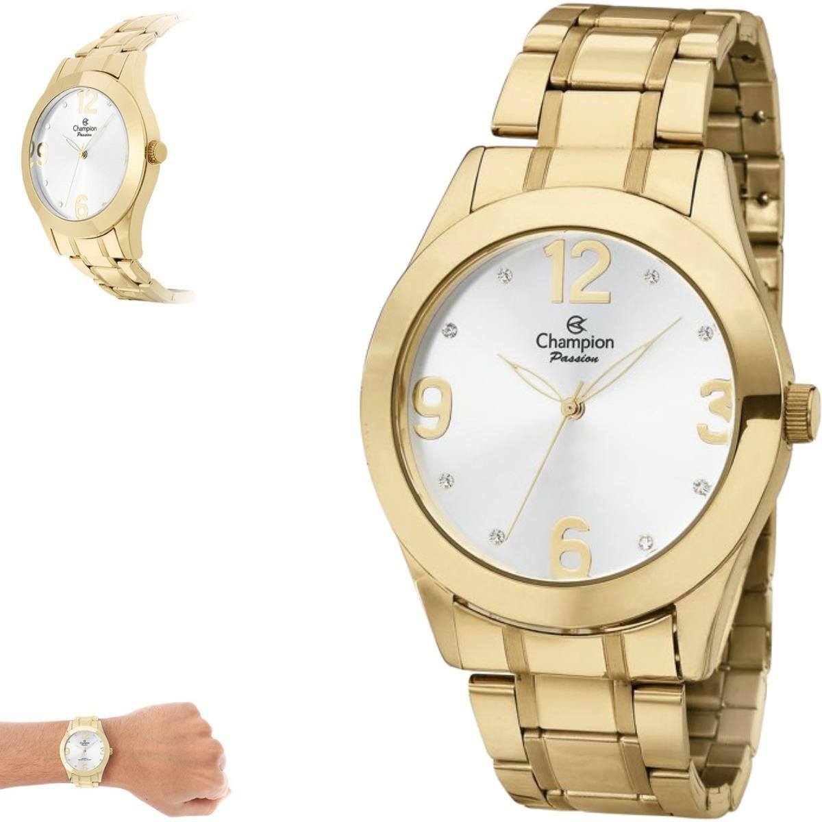 13bb9ec6ce4 relógio feminino dourado grande champion ch24268h original. Carregando zoom.