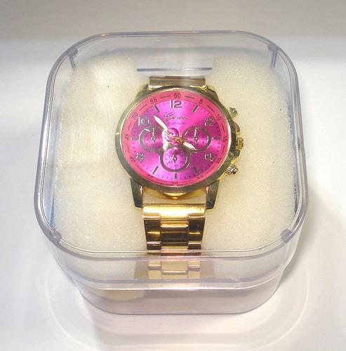 relogio feminino dourado grande visor rosa c/ caixa barato