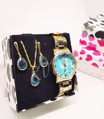 relógio feminino dourado + kit colar e brinco foliado + caix