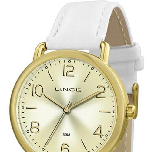 relógio feminino dourado kit lince colar e brincos lrc4451l