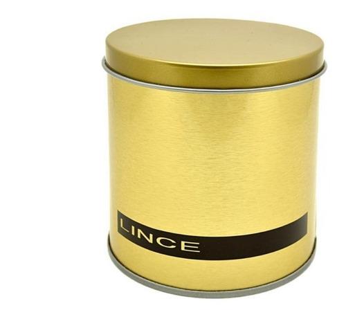 relogio feminino dourado lince pulseira couro cinza pedras