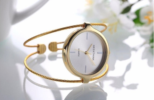 relógio feminino dourado luxo
