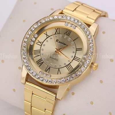 8839930fc40 Relogio Feminino Dourado Luxo Promoção Com Strass Relogios - R  109 ...