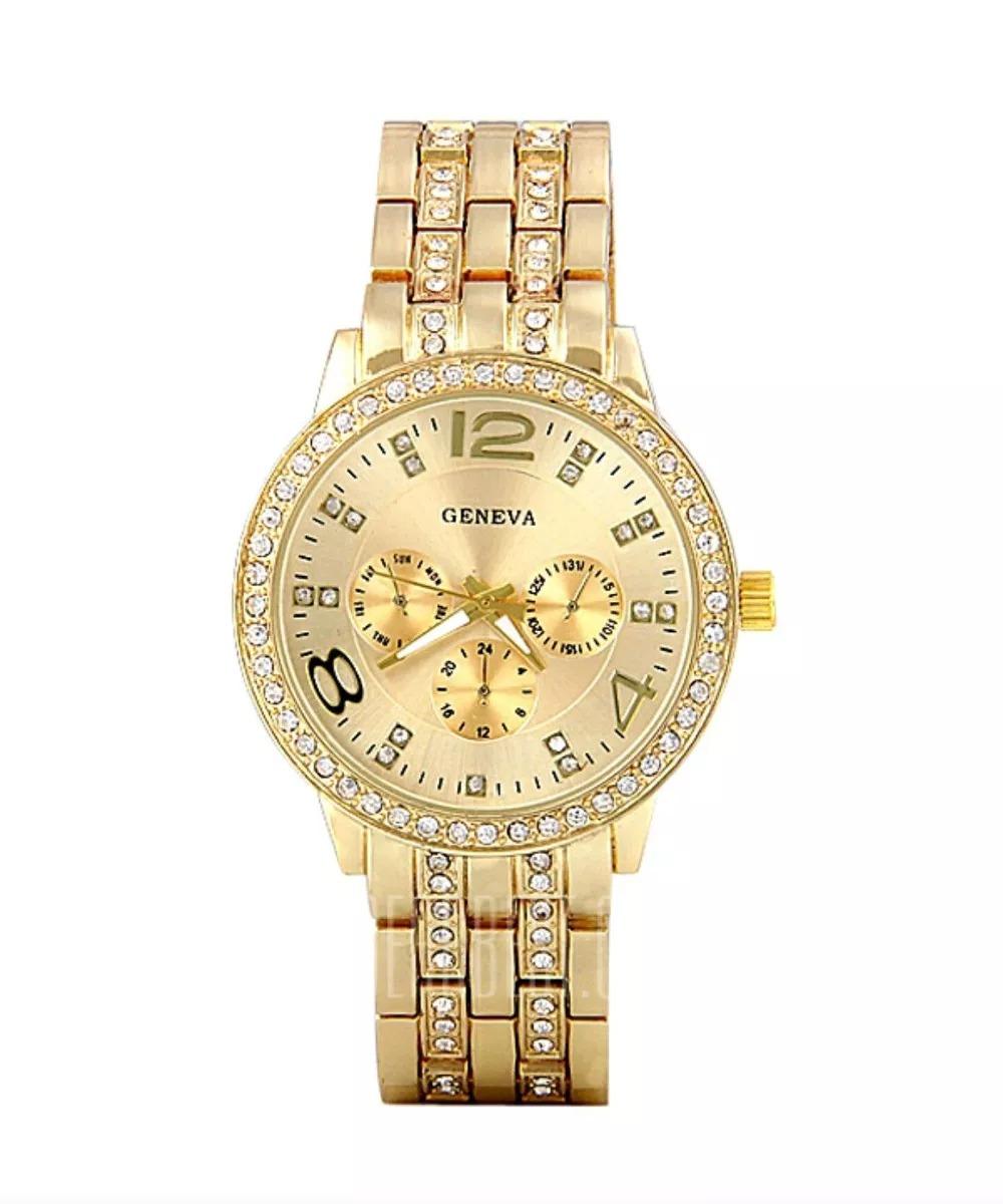 e297123c3 relógio feminino dourado luxuoso pulseira couro casual lindo. Carregando  zoom.