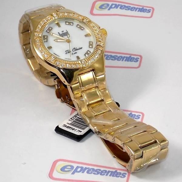 c10be2d61bd Relógio Feminino Dourado Madrepérola Cristais Dumont Sw85017 - R ...
