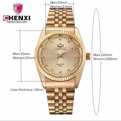 24e038bdf8f Relógio Feminino Dourado Natate Chenxi Original Luxo + Frete - R ...