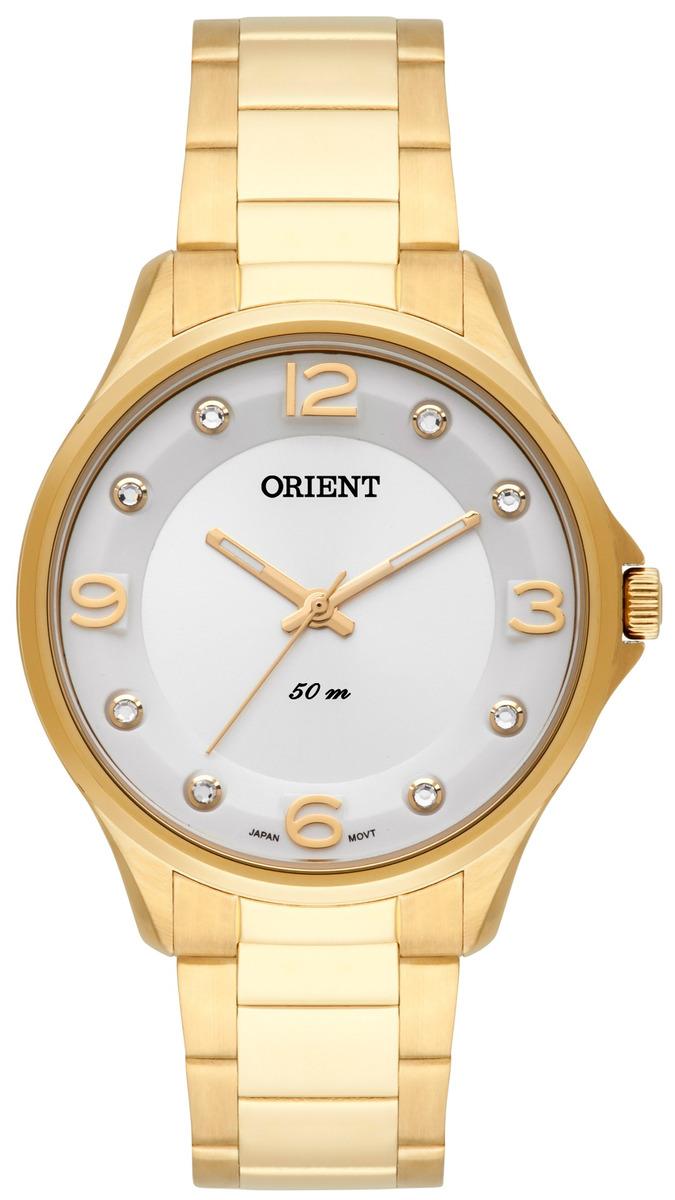 966af0d4583 Relogio Feminino Dourado Orient Com Pedras Fgss006 - R  387
