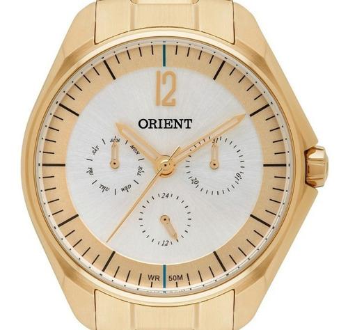 relógio feminino dourado orient multifunçao fgssm060