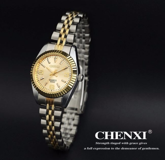 f89c8f48093 Relógio Feminino Dourado Prata Chenxi Original Luxo Barato - R  68 ...