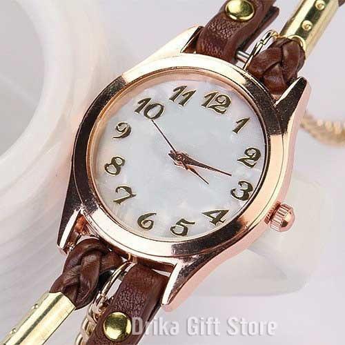 e2effd01453 Relogio Feminino Dourado Pulseira Couro Marrom Bracelete - R  34