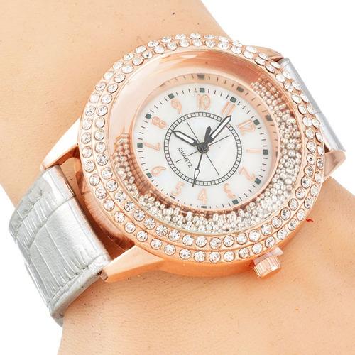 relógio feminino dourado pulseira em couro branco casual