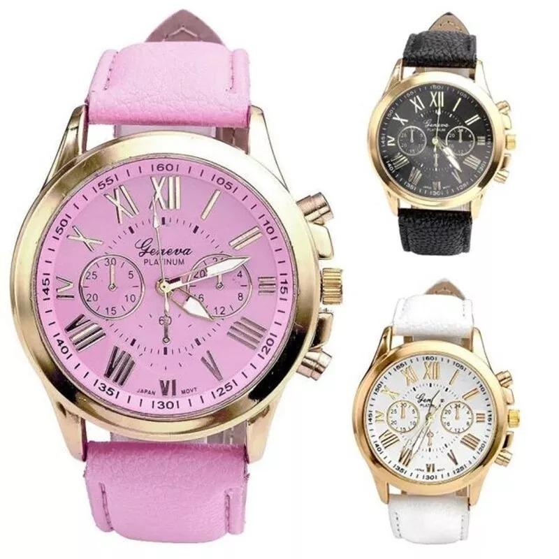 09f473fab3d relógio feminino dourado pulseira em couro branco casual. Carregando zoom.