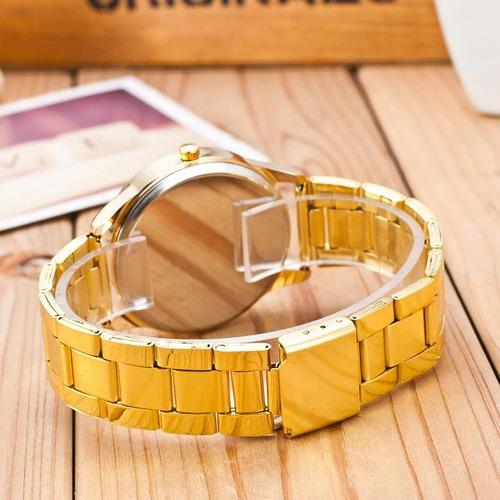 relógio feminino  dourado + pulseira folheado a ouro 18k
