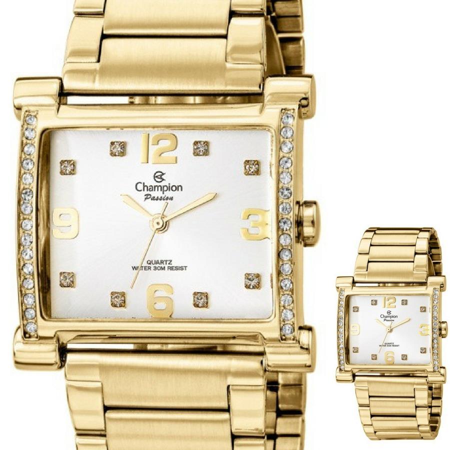 0da28415db4 relógio feminino dourado quadrado champion cn29383h. Carregando zoom.