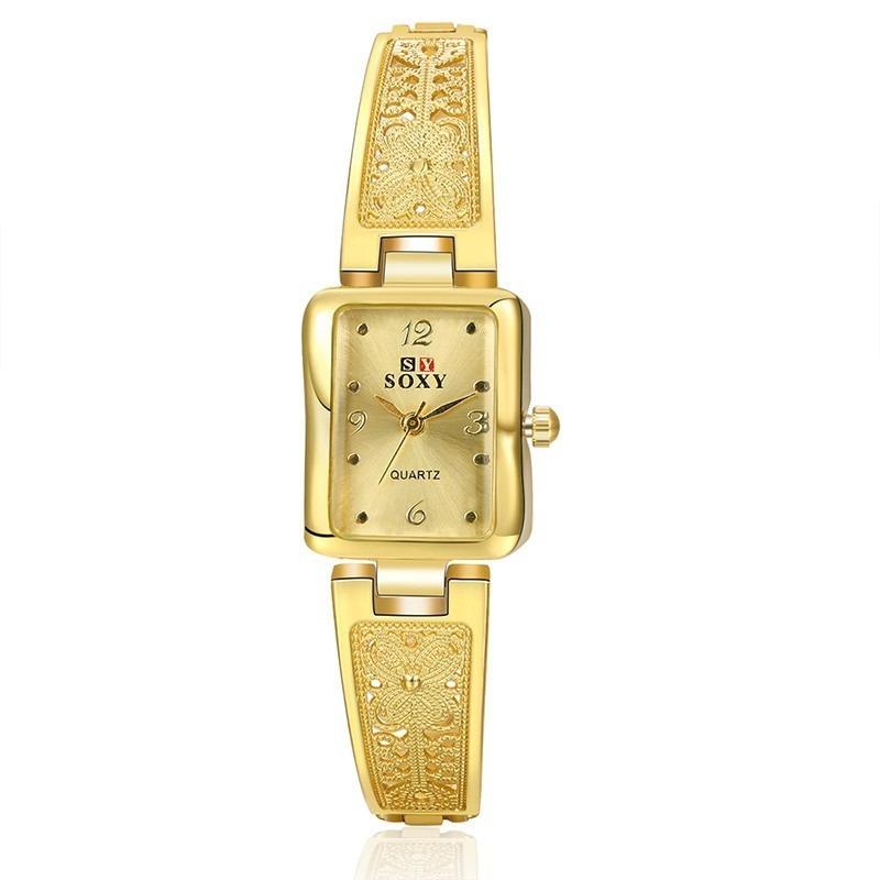 3949a585813 relógio feminino dourado quadrado pequeno barato bonito luxo. Carregando  zoom.