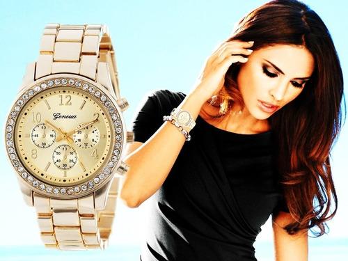 relógio feminino dourado rose barato pedra prata original