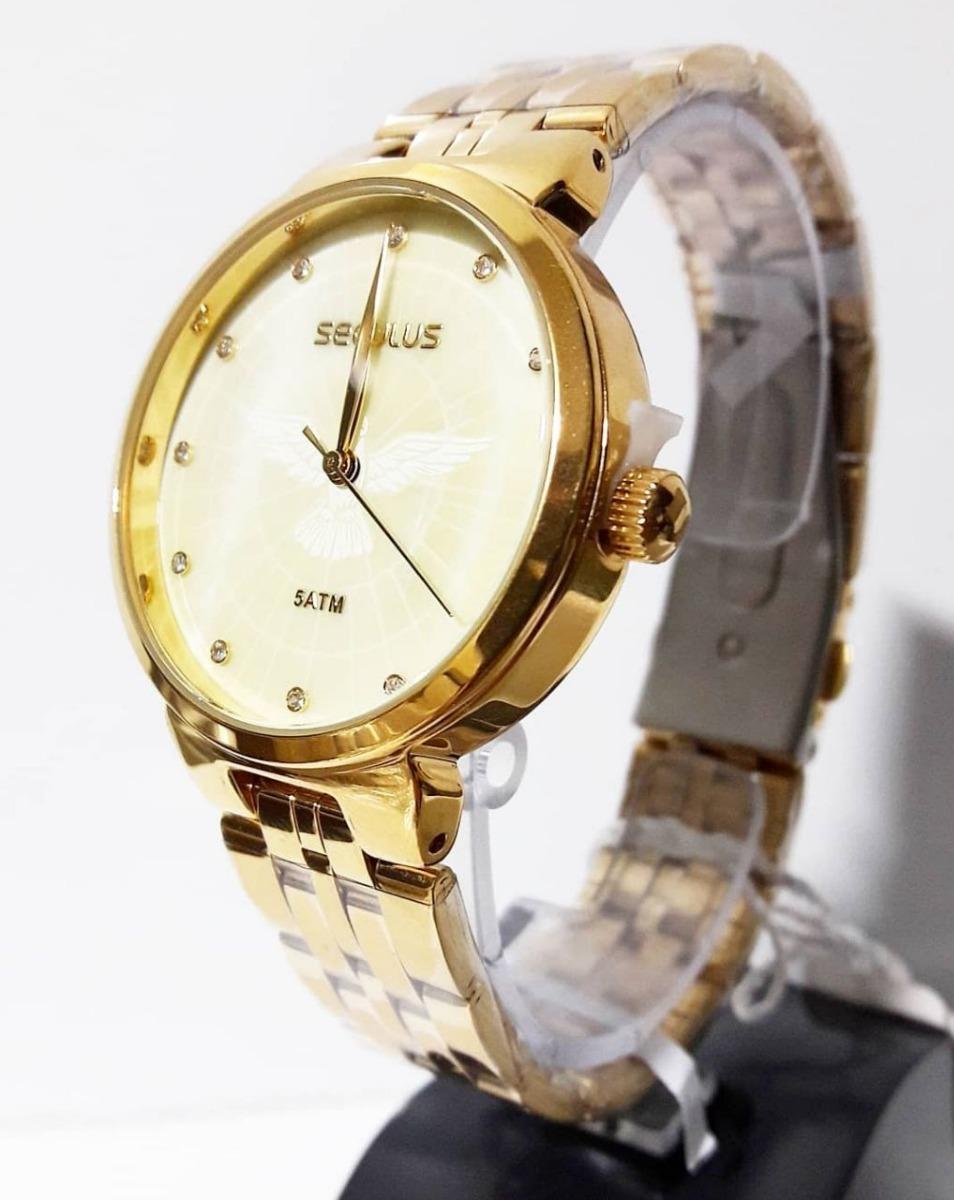 40e6c3fe0ed relógio feminino dourado seculus 28860lpskds1. Carregando zoom.