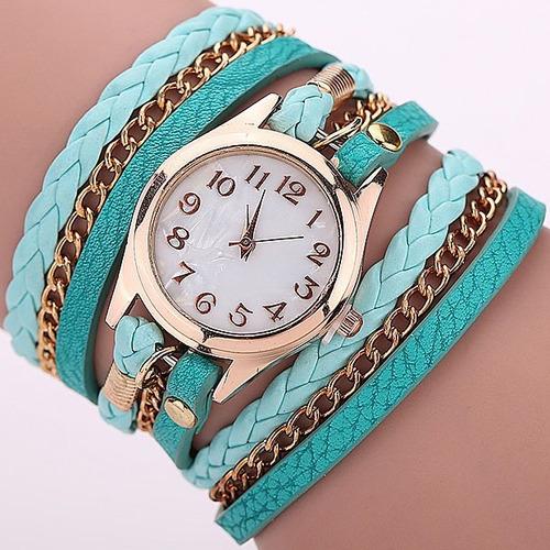 relógio feminino dourado tipo pulseira couro retrô vintage