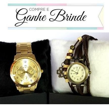 1126add85e3 Relógio Feminino Dourado Várias Cores Promoção + Brinde - R  36