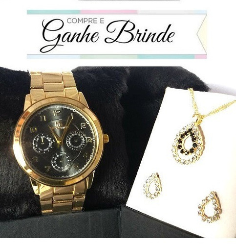 fc39f6647cc Relógio Feminino Dourado Várias Cores Promoção + Kit Brinde - R  41 ...