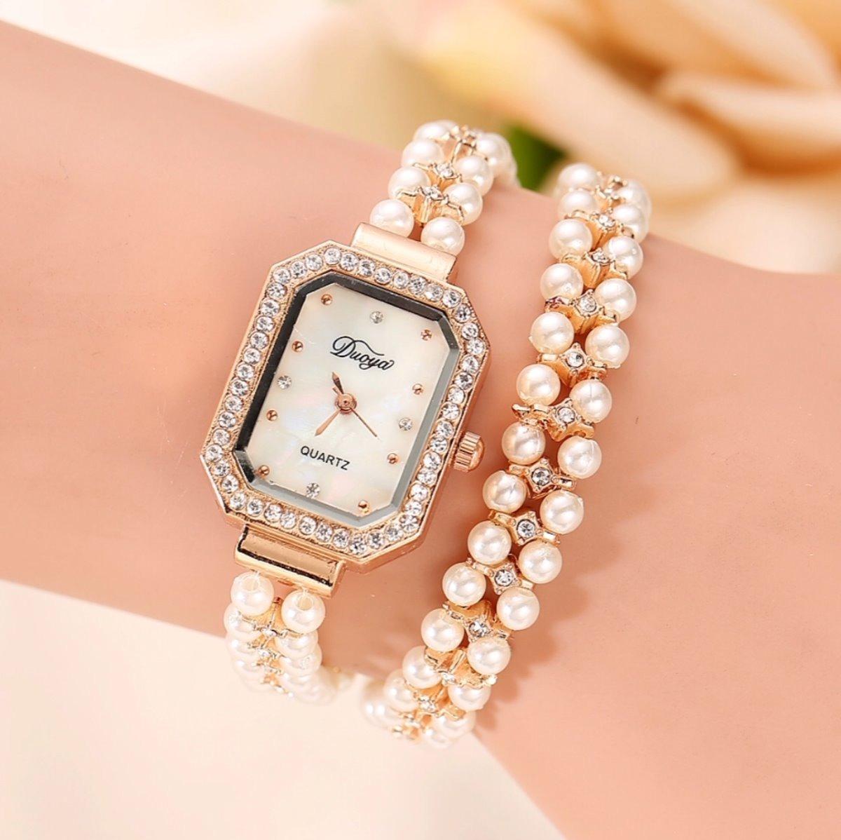 faad27625db relógio feminino duoya bracelete pérolas. Carregando zoom.