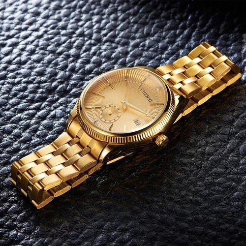 relógio feminino e masculino dourado importado +frete gratis