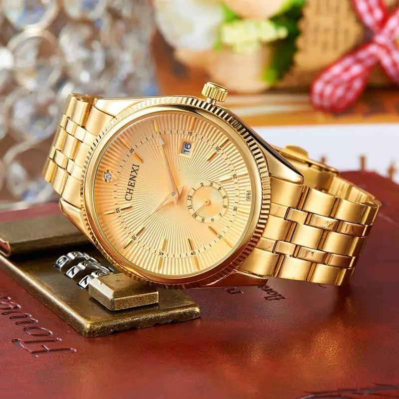 e22a6207a9f Relógio Feminino E Masculino Dourado Importado +frete Gratis - R ...