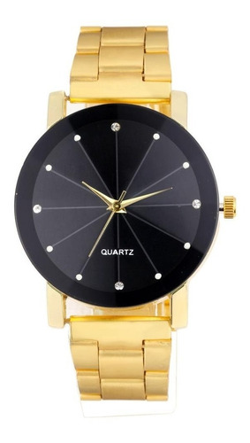 relógio feminino elegante luxo dourado brilhantes social fashion