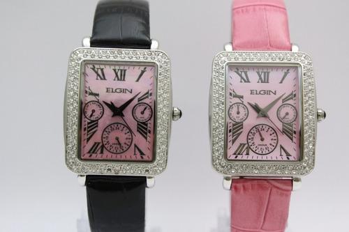 relógio feminino elgin cristais multifunção 2 pulseiras