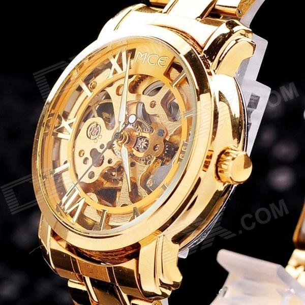 78b33653c99 Relogio Feminino Esqueleto Automatico Dourado Mce Luxo - R  221