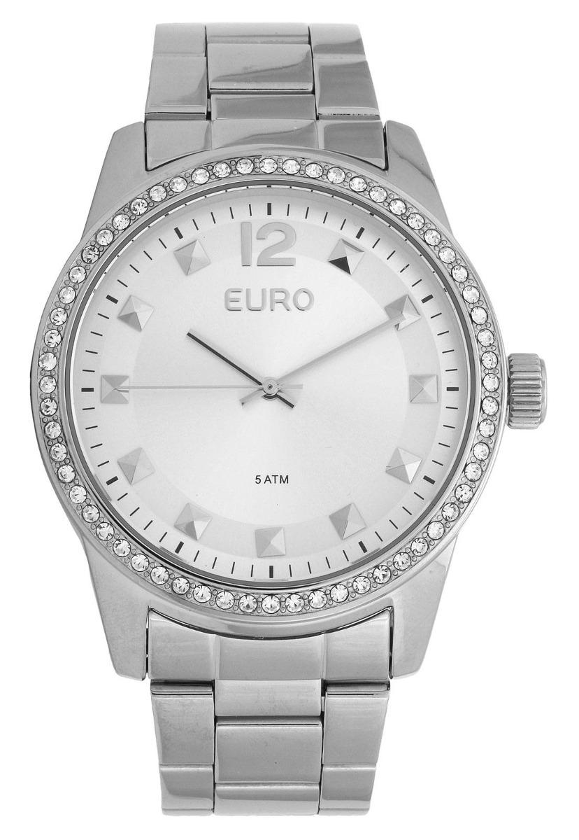 67fc677e841bb Relógio Feminino Euro Espelhados Eu2035ylb 3k 43mm Aço Prata - R ...