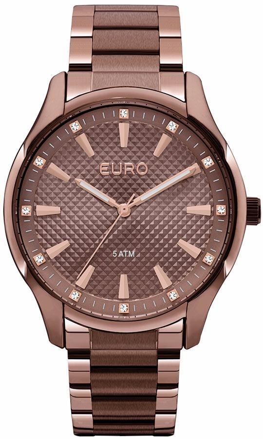 6ba6287afea Características. Marca Euro  Modelo EUY121E6DJ 4M  Gênero Feminino   Material da correia do relógio de pulso Aço Inoxidável Marrom ...