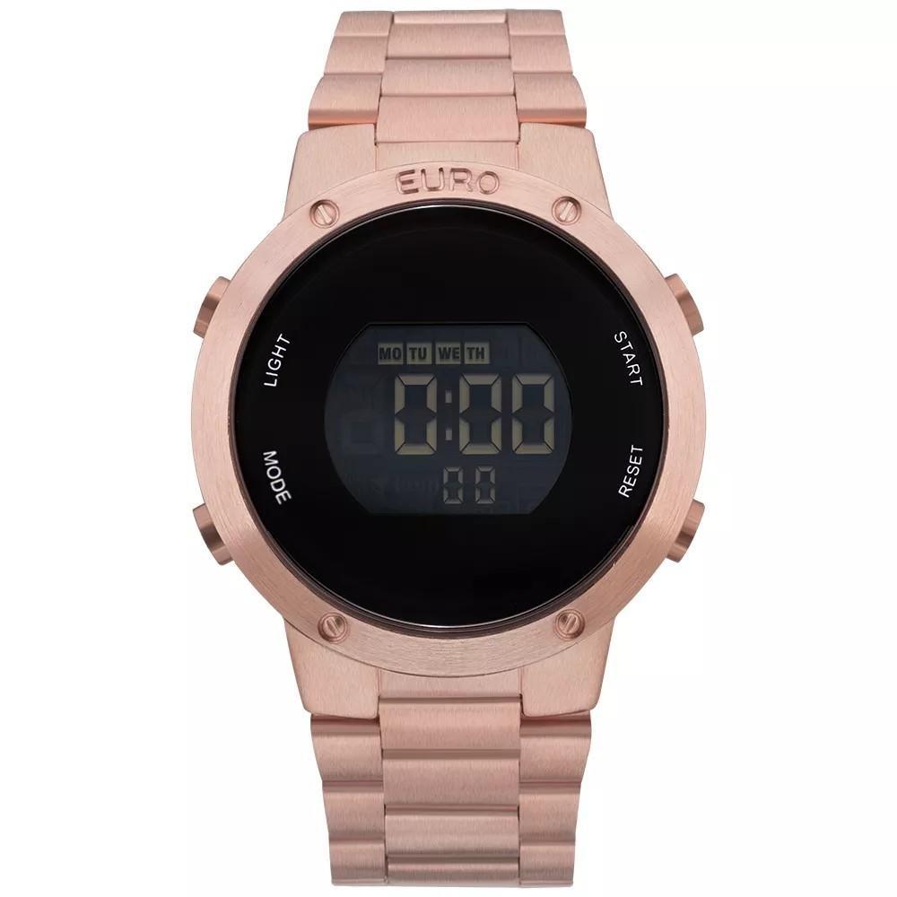 e1f4abd5730 Relógio Feminino Euro Eubj3279af 4j Digital Aço Rose - R  291