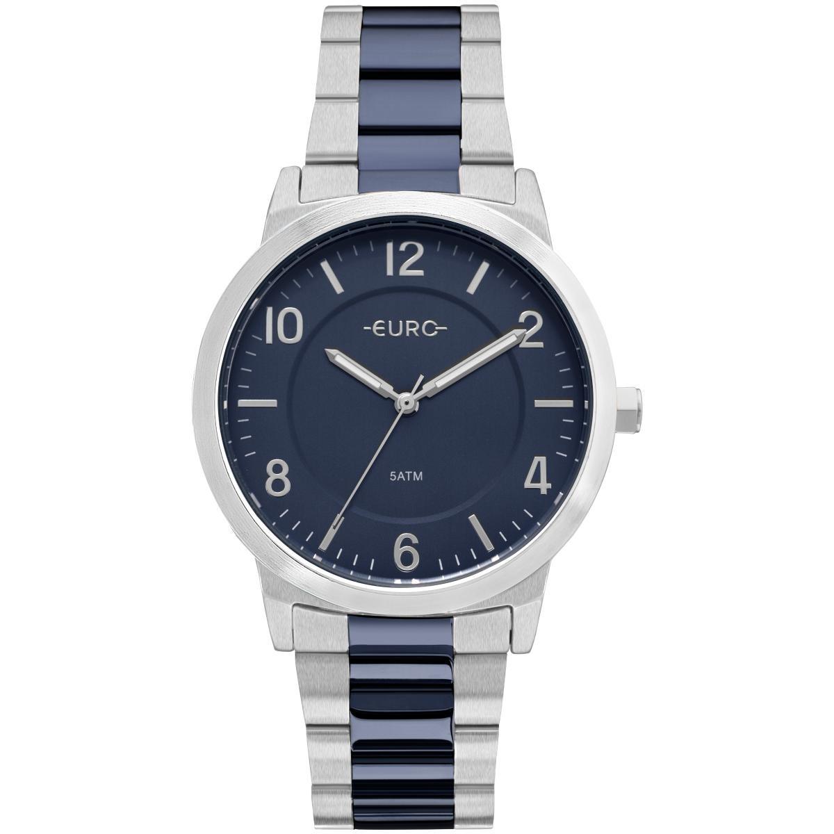 89f49f56233 Relógio Feminino Euro Eu2036ylx 5k Pulseira Aço Prata azul - R  185 ...